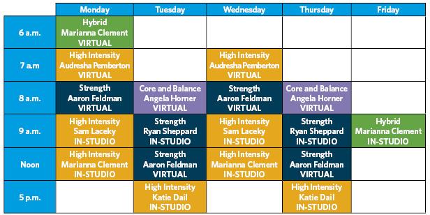SGT modified class schedule - virtual and in-studio classes
