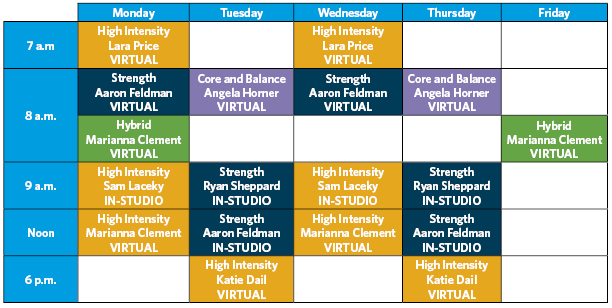 SGT modified class schedule including virtual and in-studio classes