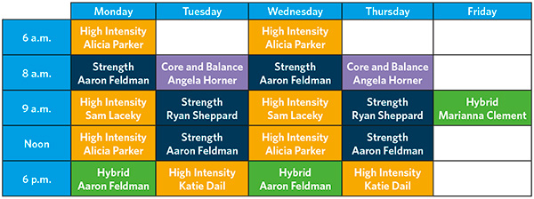 Small Group Training Class Schedule