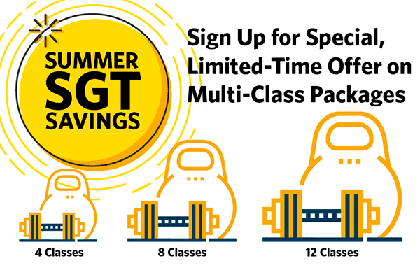 Small Group Training summer savings packages graphic