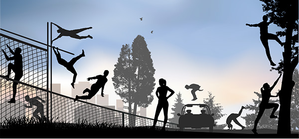 Illustration of people in a city jumping, climbing and running