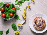 salad and pastry with tape measure