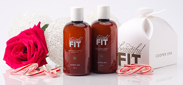 Beautiful Fit Rosemary Mint Shampoo and Conditioner with holiday decor