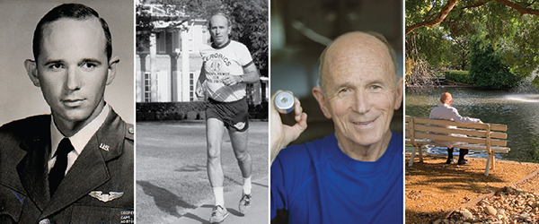 Four photos of Dr. Kenneth Cooper - military headshot, running on outdoor track at Cooper Aerobics Center, lifting weights, sitting on bench at Cooper Aerobics Center