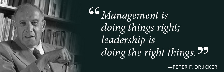 Management is doing things right; leadership is doing the right things. - Peter F. Drucker